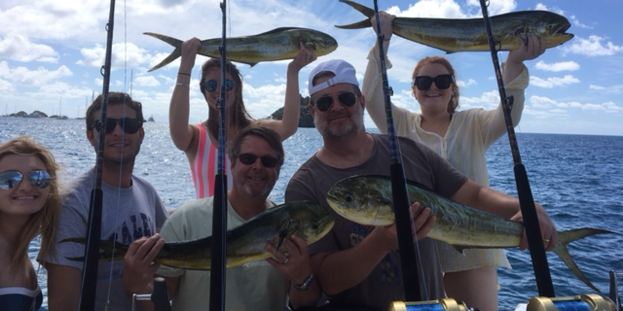 Group fishing in St Barts