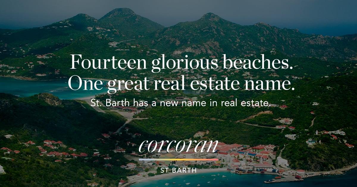photo et slogan Corcoran St Barth